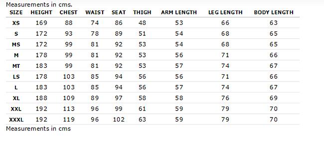 Mens Size Chart ripcurl