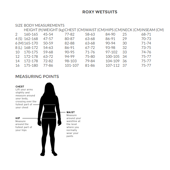 roxy size chart for womens wetsuits