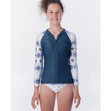 Rip Curl Girls Island Time Zip Long Sleeve UV Tee Rash Vest