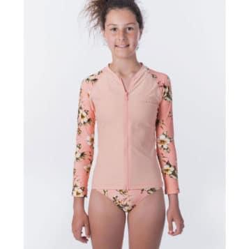 Rip Curl Girls Island Time Zip Long Sleeve UV Tee Rash Vest pink